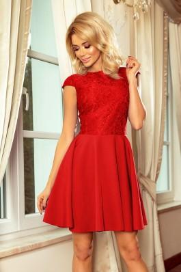 157-8 Raudona suknelė MARTA su nėriniais