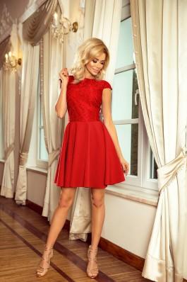 157-8 Suknelė MARTA su nėriniais - Raudona