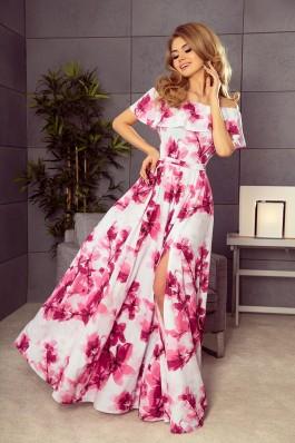 194-2 Ilga rožinė gėlėta suknelė