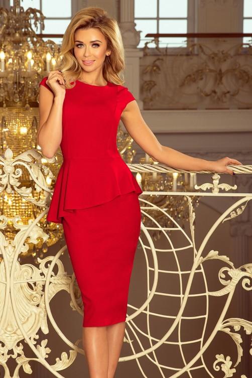 192-5 Elegantiška suknelė su raukinukais- Raudona