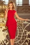 192-5 Elegantiška suknelė su raukinukais - Raudona