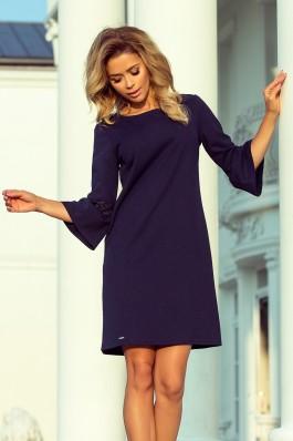 190-6 MARGARET Suknelė su nėriniais ant rankovių - Tamsiai mėlyna