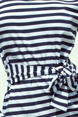 209-1 Suknelė su dirželiu - Dryžuota Marinistinio stiliaus
