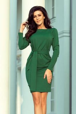 209-2 Suknelė su dirželiu - Tamsiai žalia