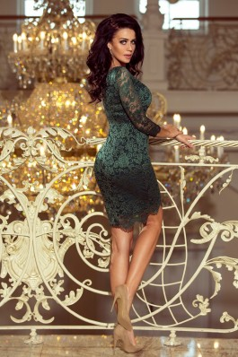 180-3 Suknelė su nėriniais - Smaragdinė