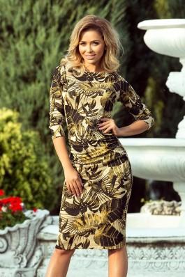 59-8 Švelnaus audinio suknelė - Garstyčių spalvos