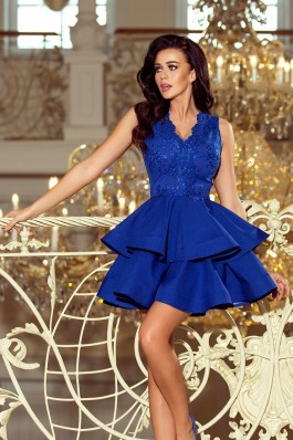 200-7 CHARLOTTE - Eksliuzycinė nėriniuota suknelė - Karališka mėlyna