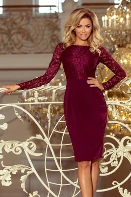 216-3 EMMA Elegantiška nėriniuota suknelė - Burgundiška