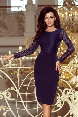 216-1 EMMA Elegantiška suknelė su nėriniais - Tamsiai mėlyna