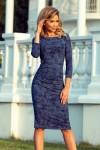 59-9 Tampraus švelnaus audinio suknelė - Tamsiai mė\nlyna