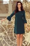 190-7 MARGARET suknelė su nėriniais ant rankovių - Smaragdinė