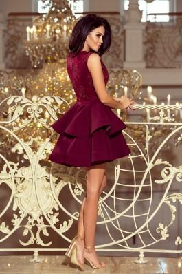 200-8 CHARLOTTE - Eksliuzyvinė suknelė su nėriniais - Burgundiška