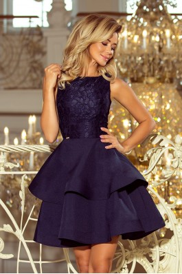 205-3 LAURA Suknelė su nėriniais - Tamsiai mėlyna