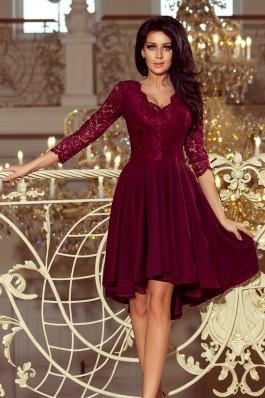 210-1 NICOLLE - Puošni bordo gipiūrinė suknelė
