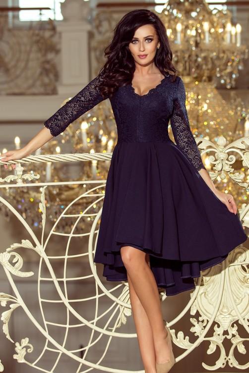 210-2 NICOLLE - Tamsiai mėlyna gipiūrinė suknelė
