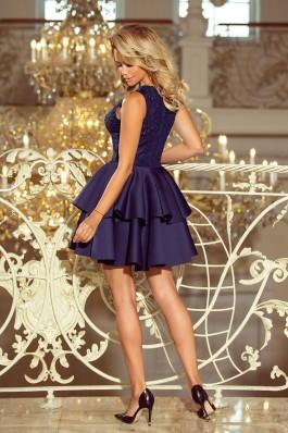 207-2 ALEXIS - Eksliuzyvinė suknelė su nėriniais - Tamsiai mėlyna