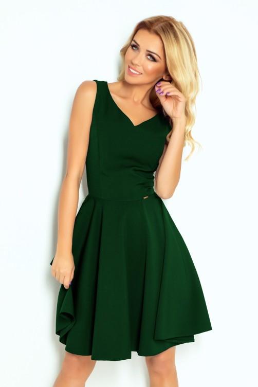 114-10 Plasdanti suknelė - Tamsiai žalia