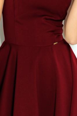 114-11 Plasdanti suknelė V formos apykakle- Burgundiška