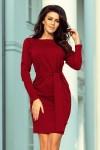 209-3 Suknelė su plačiu dirželiu - Burgundiška