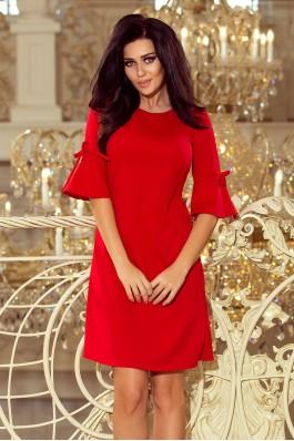 217-1 Varpelio formos suknelė plasdančiomis rankovėmis - Raudona