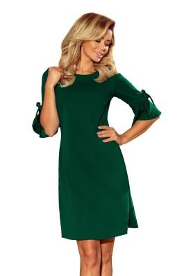 217-2 NEVA Varpelio formos suknelė plasdančiomis rankovėmis - Tamsiai žalia