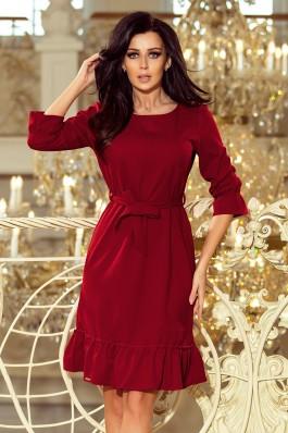193-7 MAYA Suknelė su dirželiu - Burgundiškos spalvos