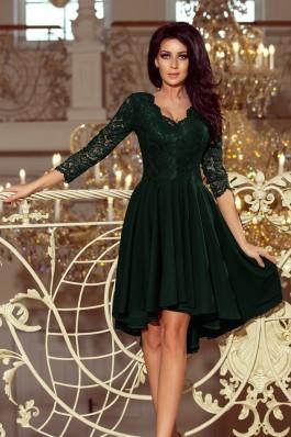 210-3 NICOLLE - Tamsiai žalia gipiūrinė suknelė
