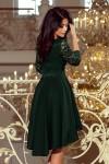 210-3 NICOLLE - Suknelė ilgesne nugara ir nėriniais ties išskirpte - Tamsiai Žalia