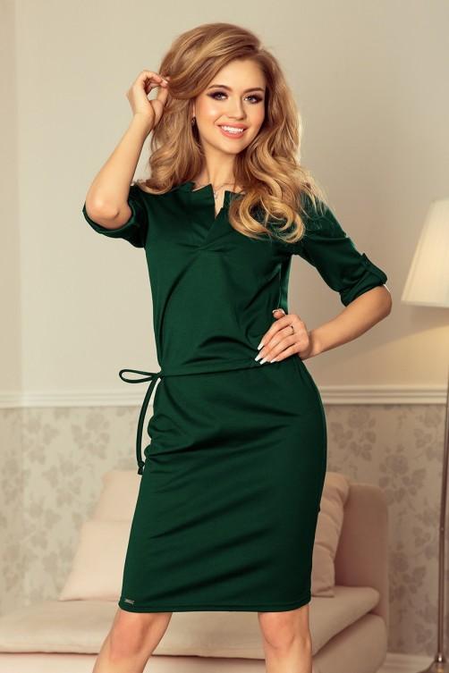 161-12 AGATA - Suknelė su apykakle - Žalia