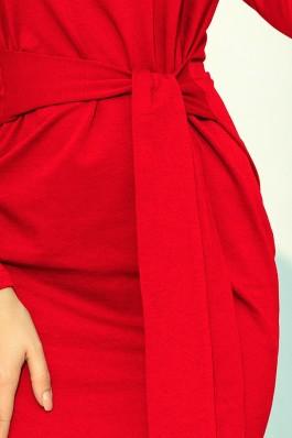 209-6 Suknelė su dirželiu - Raudona