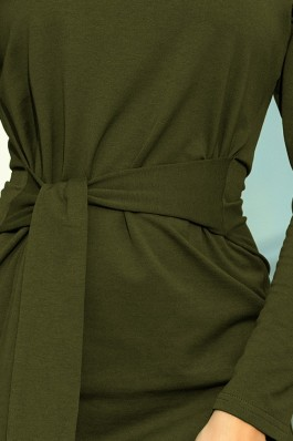 209-5 Suknelė su dirželiu - KHAKI