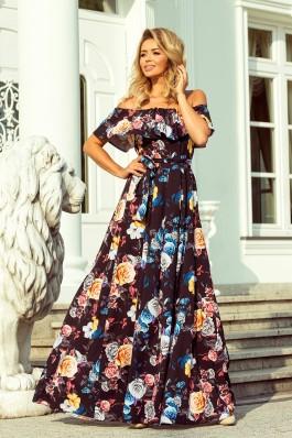 194-3 Ilga suknelė su raukinukais - Juoda+ Spalvingos gėlės