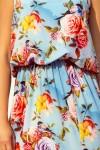 191-5 Ilga suknelė surišama ties kaklu - Gėlės mėlyname fone