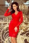170-6 Nėriniuota suknelė su iškirpte - Raudona