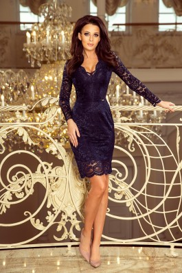 170-7 Nėriniuota suknelė su iškirpte - Tamsiai mėlyna