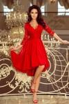 210-6 NICOLLE - Suknelė su ilgesne nugara ir nėriniais - Raudona
