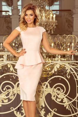 192-8 Midi suknelė su sijonėliu - Pastelinė Rožinė