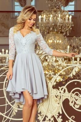 210-9 NICOLLE - Puošni pilka gipiūrinė suknelė