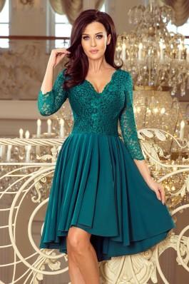 210-8 NICOLLE - Puošni smaragdinė gipiūrinė suknelė