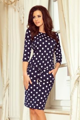 13-101 Patogi suknelė su kišenėmis - Tamsiai mėlyna Polka Dots