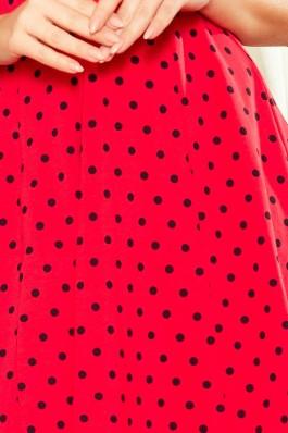 238-1 BETTY Plazdanti suknelė - Raudona su taškeliais Polka Dots