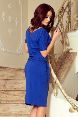 249-1 CASSIE Suknelė trumpomis rankovėmis - Mėlyna