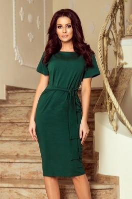 248-1 VERA Suknelė trumpomis rankovėmis - Tamsiai žalia