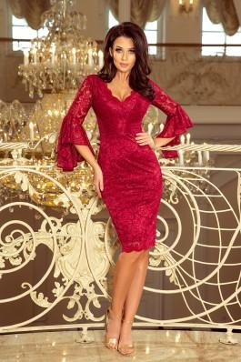234-1 Nėriniuota suknelė su plasdančiomis rankovėmis - Bordo
