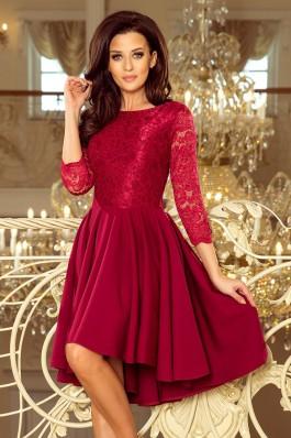 231-1 OLIVIA - Asimetrinė suknelė su nėriniais - Burgundiška