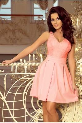 208-5 Puošni suknelė su nėriniais - Pastelinė rožinė