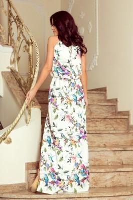 191-6 Ilga suknelė surišama nugaroje - Spalvingos rožės ir mėlyni paukšteliai