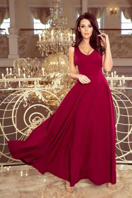 246-1 CINDY Ilga suknelė su iškirpte - Burgundiška