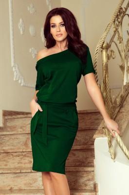 249-2 CASSIE - žalia suknelė trumpomis rankovėmis