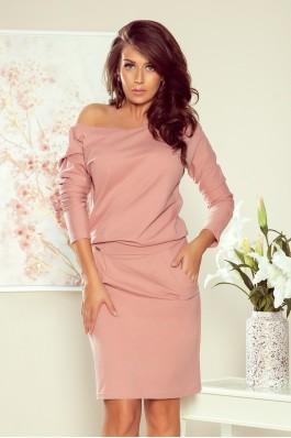 189-7 Rožinė laisvalaikio suknelė su kišenėmis